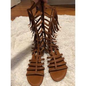 Tan knee high straps fringe gladiator sandals